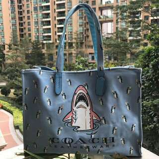 COACH SHARK CANVAS TOTE