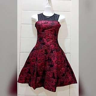 Zalora - Jacquard Mini Dress with Flower Emboss