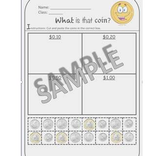 Math Worksheet - Identifying Coins & Values (Mixed Coins in SGD) by Special Needs Hubs [1 Page]