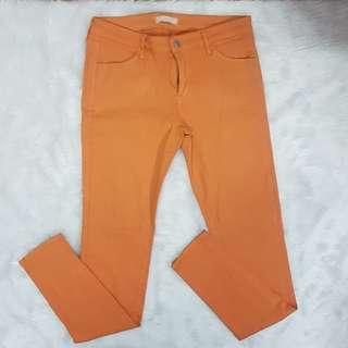 Uniqlo UJ Orange Stretch Pants Straight Jeans