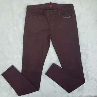 Uniqlo UJ Red Violet Marsala Burgundy Stretch Pants