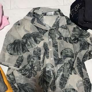 tropical leaves oversized shirt
