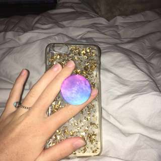 iPhone 6 Plus gold glitter and pop socket case