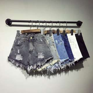 🚚 +ZHT加肥加大碼100公斤mm可穿高腰破洞牛仔短褲