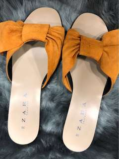 Zara Yellow Bow Sandals - Preloved