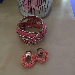 aldo coral bracelet & earrings