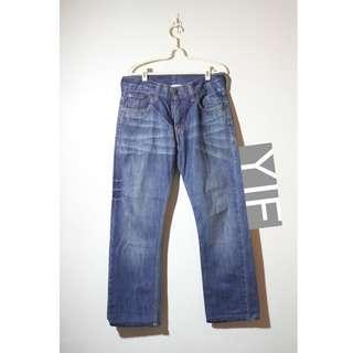 Levi's 523 復古藍色 牛仔褲 刷紋 古著 vintage 雙色縫線 異色海鷗線 皮標