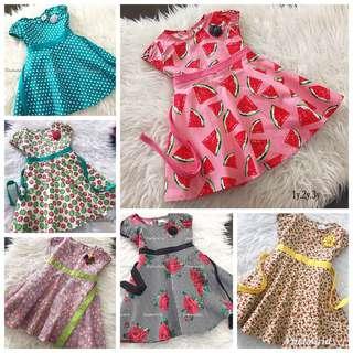 English Cotton Dress Ready Stock 1,2,3y