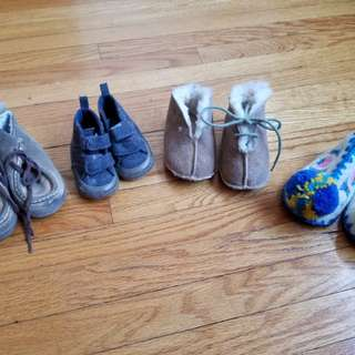 Baby Gap baby shoes. Take all 4 pairs 1. Baby Gap size 12mths 2. Baby Gap size 3mths 3. Fur lined suede. Size 6mths. Lace missing. Small tear begind ankle 4. Traditional Greek slippers size 6mths but fits 9mths Pickup beaches .