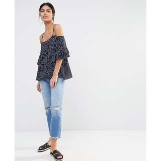 ASOS Y.A.S Off the shoulder dotty top - Size S