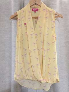 printed yellow top