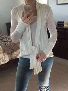 Cream heathered long sleeve shirt with wrap/tie Size S