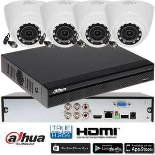 Dahua original 720P DH-HAC-HDW1000R waterproof night vision CVI Dome camera with H.264 4CH CVI DHI-XVR4104HS camera kit