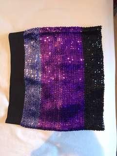 Forever21 purple/black sequins mini skirt size MED