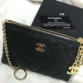 Chanel caviar leather o case key holder with card slots