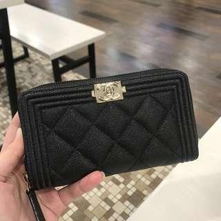 Chanel Boy Medium Zippy Wallet Caviar GHW #23