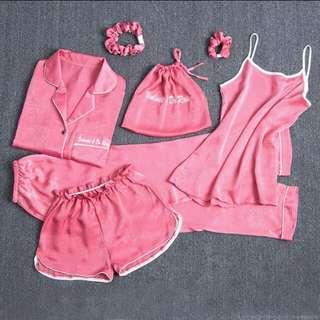 Lingerie Sexy - Baju Tidur Set Komplit Peach