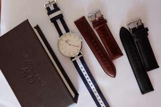 Daniel Wellington Sheffield Watch w/ 2 additional straps