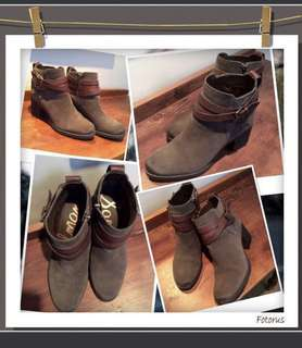 "REDUCED PRICE!!Brand New and unused Sam Edelman ""Hannah""charcoal grey and brown belted booties in size 7 1/2 ."