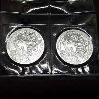 2018 Rwanda Girrafe 1 oz silver coin