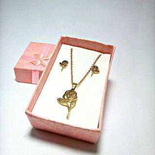 Rose Stainless Steel Gold Necklace and Earrings Set (With gift box and pouch)