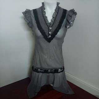 Black And White Polka Dot Mesh Top / Dress With Lace Detailing And Frilly Sleeves