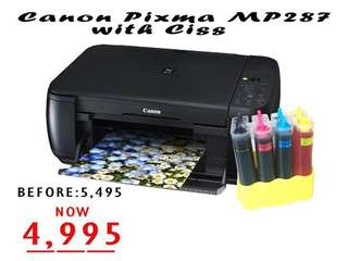 Canon Pixma MP287 Printer with Ciss