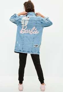 barbie x missguided blue longer length denim jacket
