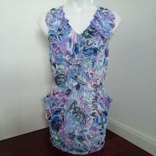 Brand New Colorful Printed Mesh Ruffle Dress With Pockets