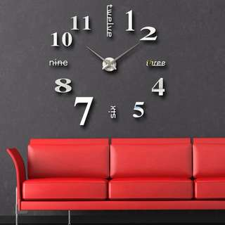 DIY Silver Large 3D Wall Clock Home Decorative Mirror