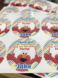Elmo birthday party stickers labels customised