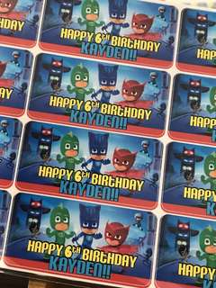 PJ mask birthday party stickers labels customised