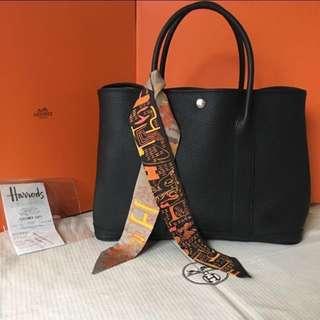 Hermes 入門經典款 輕熟女必備首選 Garden Party 36  A刻 經典黑 全配含2017/6 正本收據 贈:羊毛氈內袋、(高價精品附購證(收據)、對你我都有保障)  (Hermès)