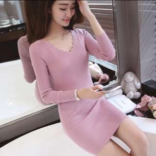#new Korean version of the knit sweater Slim was thin in the long paragraph pullover female bottoming shirt long-sleeved dress