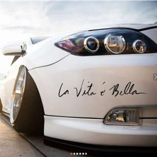 La Vita E Bella Wall Decal Car Styling Sticker - BLACK ONLY