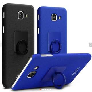 IMak for Samsung Galaxy J7 Max/On Max Frosted Plastic Case With Ring Holder  - BLUE ONLY