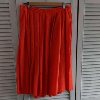 Bright orange midi length Bardot skirt s12