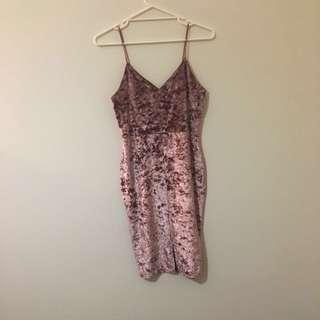 Pink Velvet Midi Dress