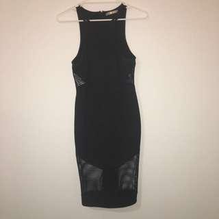 Black Midi Mesh Dress