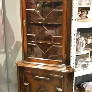 Antique corner display cabinet from England