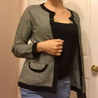 vintage cardigan top black and white pattern Size S