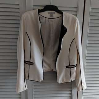 H&M jacket white with black piping s12