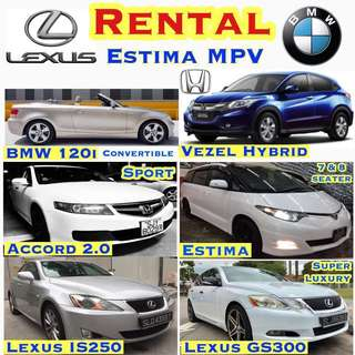 Car Rental Estima MPV Lexus IS250 GS300 Honda Accord Vezel Hybrid BMW 120i Convertible Cabriolet