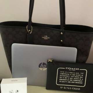 Brand new coach reversible tote for laptop