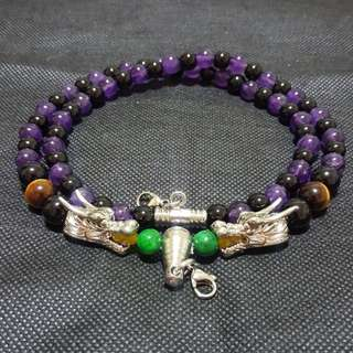 Sold - Nice quality Black Shiny Oxny, Amethyst  beads with 2 Silver Shiny Dragon Heads 2 Hooks Necklace