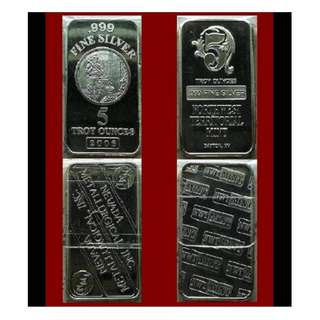 ♠ USA. (Select) NMI or NWTM. 1x 5 Troy Oz. 999 Fine Silver classic bar (coins* ref)