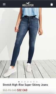 Hollister High Rise Blue Jeans Jeggings