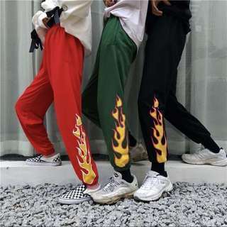 [PO] harajuku street flame fire long runner track pants
