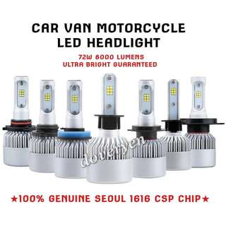 H1 H4 H7 H8 H9 H11 HB3 HB4 9012 CSP Led  ★Car Van Motorcycle     Headlight / Fog Light Usage  ★100% Genuine Seoul 1616     CSP Chip 2 / 3 Sided Leds      ★Ultra Bright Guaranteed      Mini Size  Plug & Play   ★6.5k White      8000 Lm 72w   IN STOCK