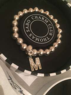 "Thomas Sabo charm club bracelet with ""M"" Swarovski crystal charm"